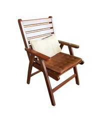 Wooden garden chair isolated on white background