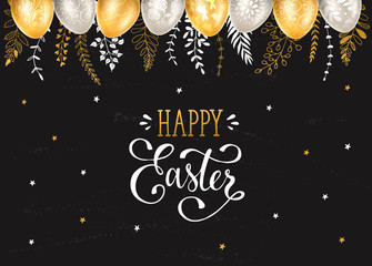 Easter eggs with ornaments in gold and silver colors with hand drawn branches on chalkboard. Happy easter greeting card.
