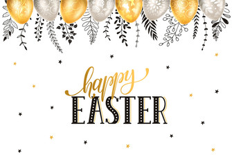 Easter eggs with ornaments in gold and silver colors with hand drawn branches isolated on white background. Happy easter greeting card.