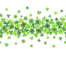 St. Patricks day border from clover leaves. Greeting card template.