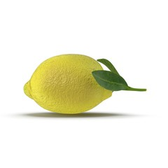 One ripe lemon with leaves on white. Side view. 3D illustration