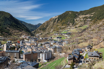 A view over modern buildings of Encamp town, Andorra