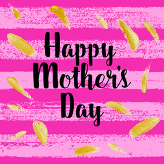 Happy Mothers's Day greeting card, poster with ink hand drawn stains, hearts. Vector background with hand lettering.
