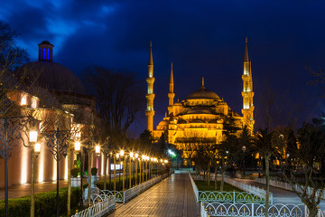 Sultan Ahmed Mosque (Blue Mosque) in Istanbul  on night in evening illumination