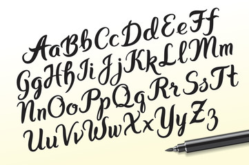 Hand drawn brushpen alphabet letters