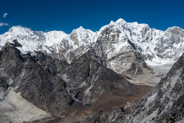 Himalaya mountain range view from top of Kongma la pass, Everest region, Nepal