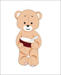 teddy bear with a plate of porridge