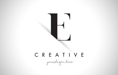 E Letter Logo Design with Creative Paper Cut