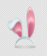 Vector pink rabbit ears isolated on transparent background.
