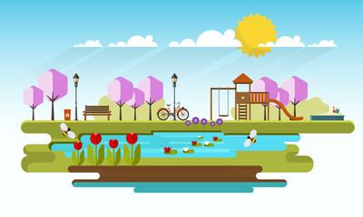 Public park in Spring Season. Vector Flat illustration.