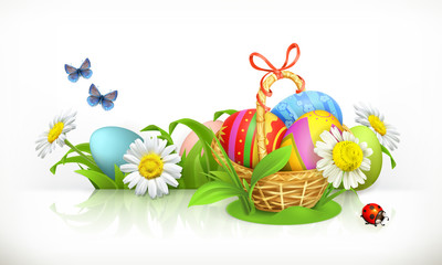 Easter, basket and eggs. Spring flowers 3d vector banner