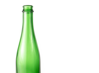 Empty Green Glass Beer Bottle on the white background With Text Space