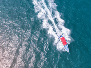 speed boat running in the sea, aerial view
