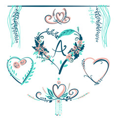 Design element of hand drawn typography poster with heart. Stylish typographic illustration design about love for greeting cards, posters, valentines day card or save the date card