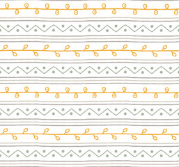 Seamless summer sketch vector pattern. Twigs lines and zigzags with circles background. Hand drawn abstract branch african style. Green yellow grey and white illustration