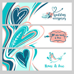 Freehand drawn web banner. Stylish illustration with vector flower design for greeting cards, valentines day, save date card. All you need is love. Image with bird and text peace. Wedding accessory.