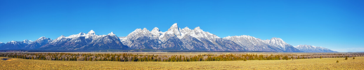 Poster de jardin Montagne Panoramic picture of the Grand Teton Mountain Range in autumn, Wyoming, USA