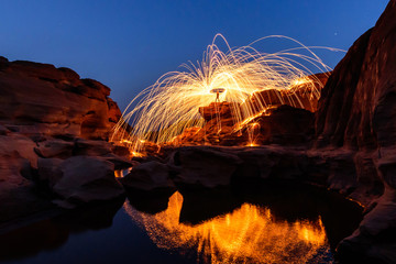Swirl lights by steel wool /  jerk the steel wool light at Sam Phan Bok