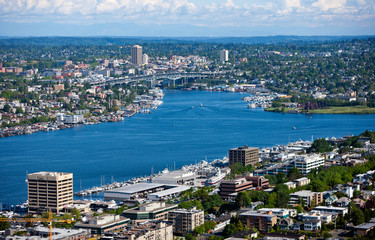 View of Pugent Sound from Space needle