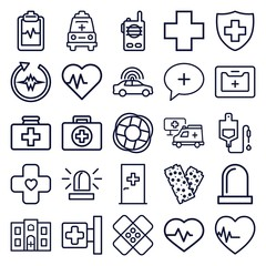 Set of 25 emergency outline icons
