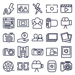 Set of 25 picture outline icons