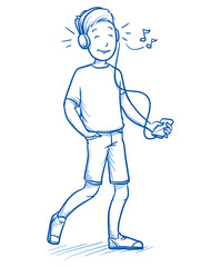 Happy young boy listening to music on his smart phone. Hand drawn cartoon doodle vector illustration.