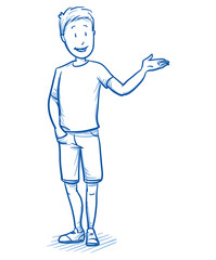Happy young boy holding hand up / raised as if presenting something. Hand drawn cartoon doodle vector illustration.