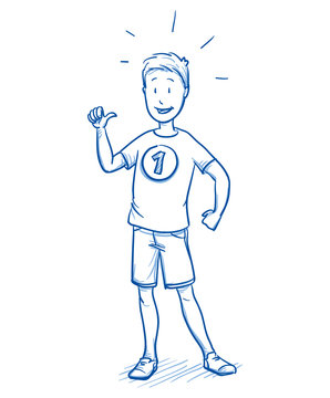 Happy young boy looking proud as a winner with number 1 on his shirt. Hand drawn cartoon doodle vector illustration.