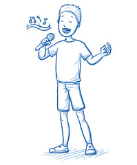 Happy young boy singing a song with a microphone in his hand. Hand drawn cartoon doodle vector illustration.