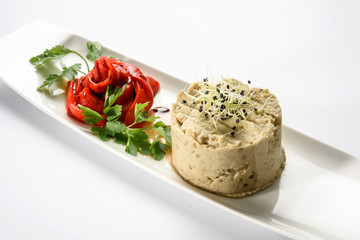 Eggplant salad with baked peppers
