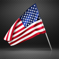 American banner wavy flying flag, USA flag isolated on transparent background vector illustration