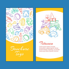 Vector children brochure pages with doodle kids toys.