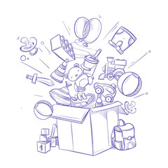 Doodle shopping box with lot of childrens toy and purchases. hand drawn vector illustration