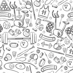 Sport and fitness doodle, hand drawn seamless vector healthy background
