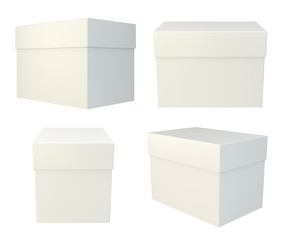 Package set box on white background. 3d rendering