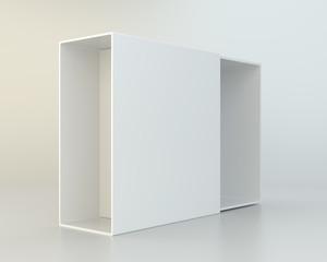 Open cardboard on gray background. 3d rendering