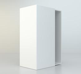Empty open cardboard on gray background. 3d rendering