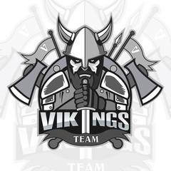 Vikings logo mascot for a team on a color background. Sport logo. Vector illustration. EPS10