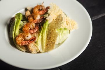 Grilled shrimps. Dish. Seafood