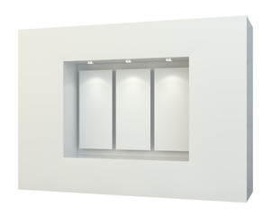 Blank white posters in showcase window, 3D Rendering