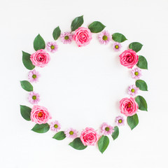 Flowers composition. Wreath made of fresh rose flowers. Flat lay, top view