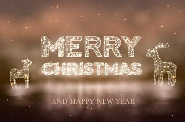 Beautiful Christmas bokeh background with lighten reindeer