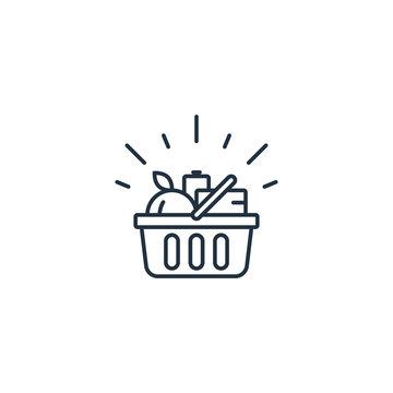 Food basket, grocery order, shop special offer line icon