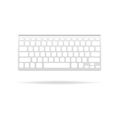 Portable gray keyboard with white buttons on the light background. Vector isolated clip art illustration.