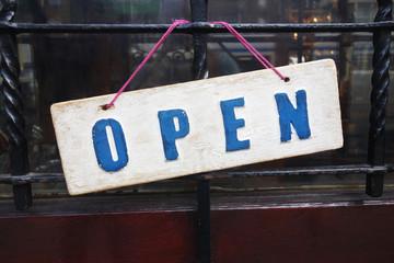 Open sign on door