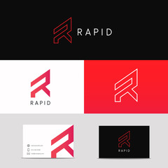 Letter R logo minimalistic sign. Company brand business card sign.