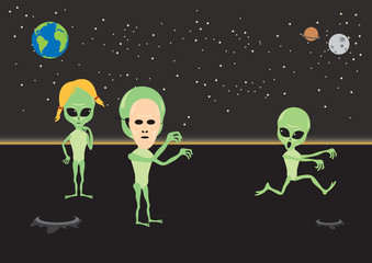 Alien fun vector illustration. Alien cartoon character. Aliens under the night sky