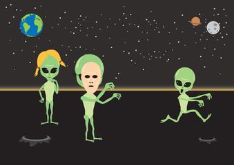 Alien fun vector illustration. Alien cartoon character. Aliens under the night sky