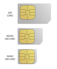 Gray SIM card with gold ship isolated on white background. Simple web icon. Vector. Nano SIM. Micro SIM.