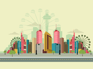 creative skyline or cityscape with nice and creative design illustration.